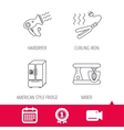 Curling iron hair dryer and blender icons vector image vector image