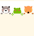 cute animal frog bear and fox with empty place vector image vector image