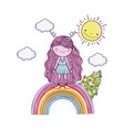 cute little fairy with rainbow and sun vector image vector image