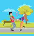 cute lovers merrily hold hands young vuple fun vector image vector image