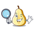detective slice of ripe green pear character vector image