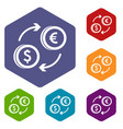 euro dollar euro exchange icons set vector image vector image