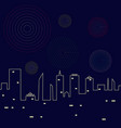 fireworks in the night sky above the city vector image vector image