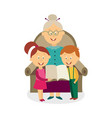 flat grandmother with kids reading book vector image vector image
