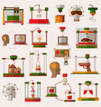 flat icons set of 3d printing 3d modeling vector image