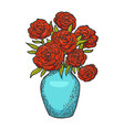flowers in vase engraving vector image vector image