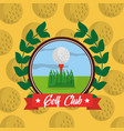 golf club emblem ball on grass sport vector image