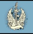 Grunge Rocknroll Guitar Blue vector image
