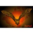 Hand drawn graphic ornate bat on grunge background vector image vector image