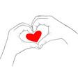 hands showing heart vector image vector image