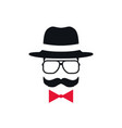 hipster in hat glasses and red bow tie portrait vector image vector image