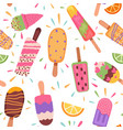 ice creams seamless pattern summer holidays with vector image