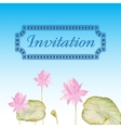 Invitation card with flowers lotus vector image vector image