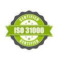 ISO 31000 standard certificate badge vector image vector image