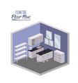 isometric floor plan of home kitchen room interior vector image