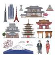 japanese landscape icons set cartoon sketch vector image vector image