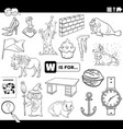 letter w words educational task coloring book page vector image vector image