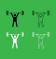 man uping weight icon black and white color set vector image vector image