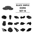 meats set icons in black style big collection of vector image vector image