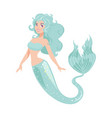 mermaid isolated on white background vector image vector image