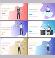 online business working people and boss with globe vector image vector image