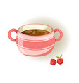 pink cup with small pattern two handles and sweet vector image vector image