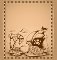 pirate theme drawing on parchment 2 vector image vector image