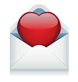 red heart in the envelope vector image vector image