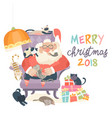 santa claus sitting in armchair wih cats vector image vector image