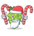 santa with candy green grapes mascot cartoon vector image vector image