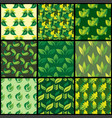 seamless pattern with green leaves background vector image vector image