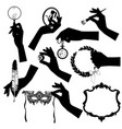 set black silhouettes female hands vector image vector image