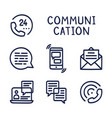 set communication simple outline color icon on vector image
