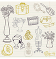 Set of Fashion Hand drawn Doodles vector image vector image