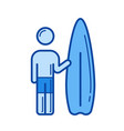 surfing line icon vector image vector image