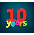 Ten years paper sign vector image