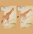 two covers for notebooks with a giraffe vector image vector image