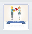 two working women characters in formal clothing vector image
