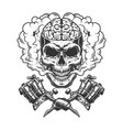 vintage monochrome skull with human brain vector image vector image