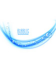 wavy blue bubbles background design vector image vector image