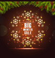 winter sale background banner and christmas tree vector image vector image