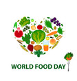 world food day heart of fruits vegetables cereals vector image