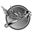 wrench drawing black white wing fly black vector image