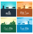 set of milk banners milk natural product rural vector image