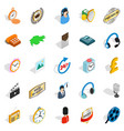 Around the clock icons set isometric style vector image
