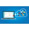 backup data to the cloud from computer laptop vector image vector image