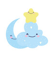 bashower cute blue cloud star and moon cartoon vector image vector image