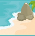 beach seascape with rocks summer scene vector image