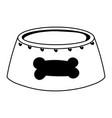bowl food pet with bone cartoon isolated white vector image vector image