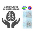 brain care hands icon with agriculture set vector image vector image